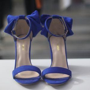 Fashion Nova Royal Blue Heeled Sandal with Bow